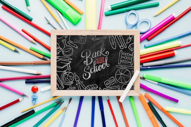 Top view back to school concept with chalkboard