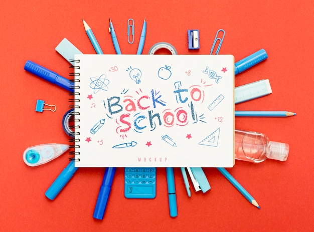 Top view back to school concept