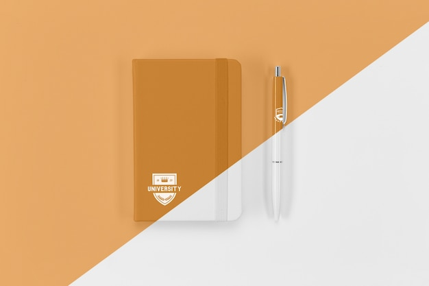 Top view of back to school notebook and pen