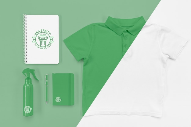 Top view of back to school notebooks with t-shirt and disinfectant