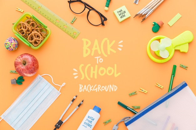 Top view of back to school pencils and essentials