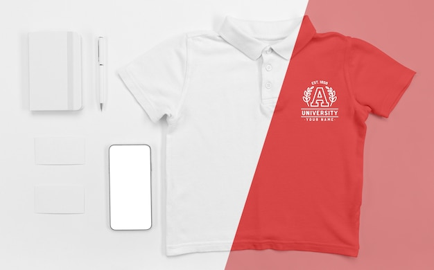 Top view of back to school t-shirt with smartphone