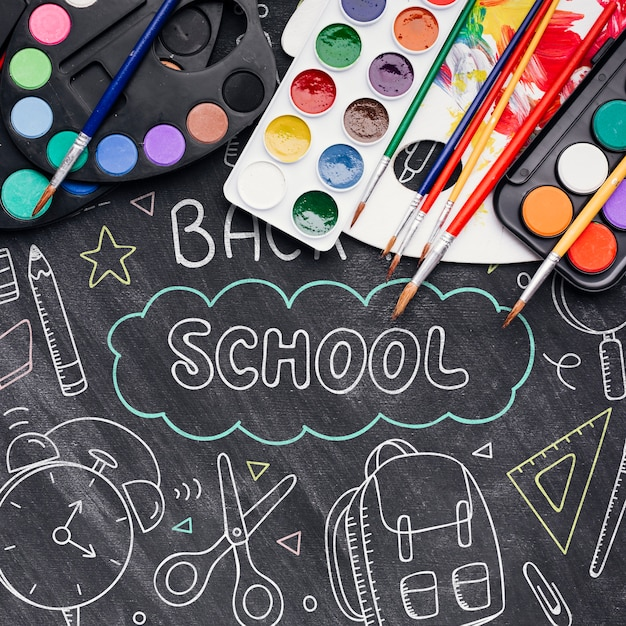 Top view back to school with chalk drawings