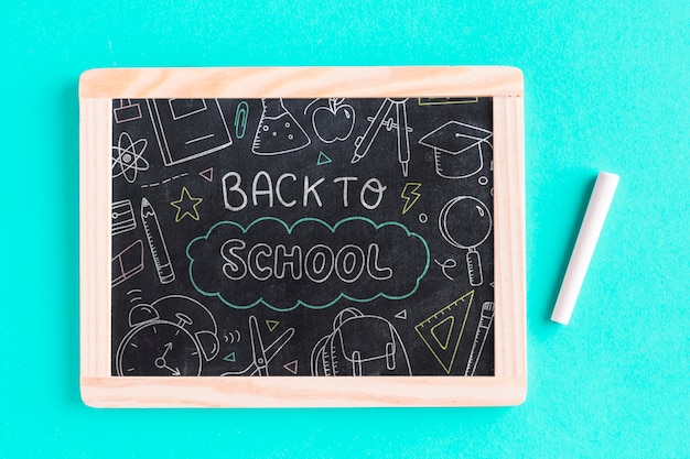 Top view back to school with chalkboard