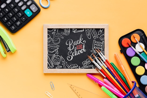 Top view back to school with mock-up chalkboard