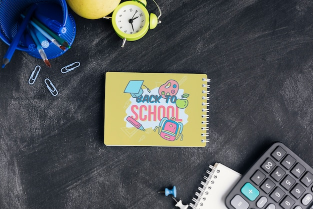 Top view back to school with notepad