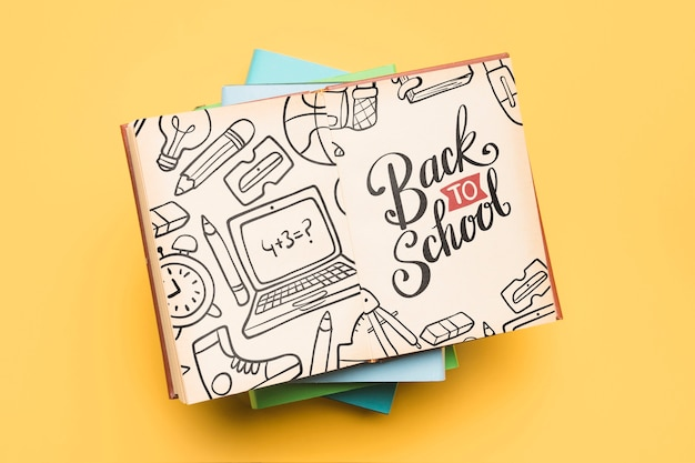 Top view back to school with open notebook