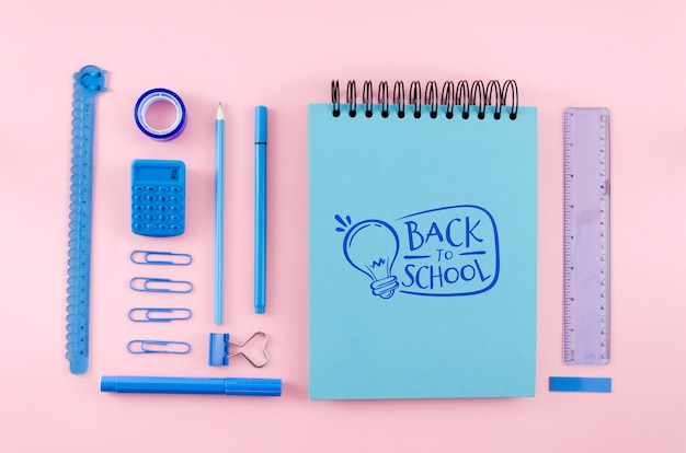 Top view back to school with pink background