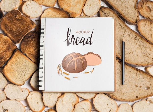 Vista dall'alto del modello di concetto di panetteria