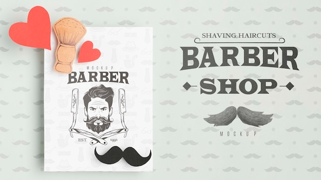 Top view barber shop flyer with mock-up