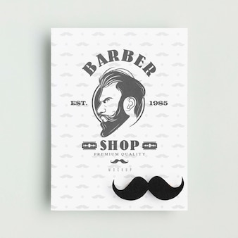 Top view barber shop poster with mock-up