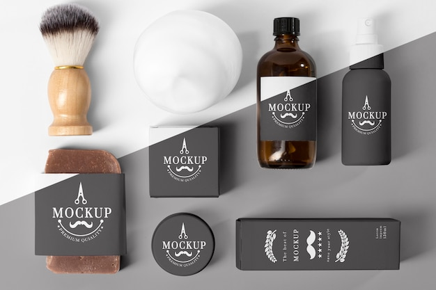 Top view of barbershop items with brush