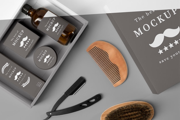 Top view of barbershop items with comb