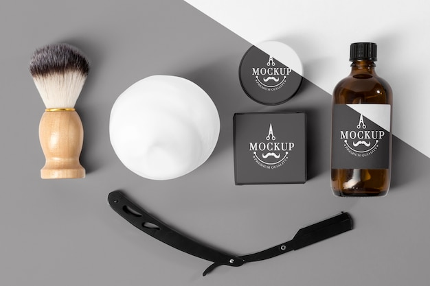 Top viewof barbershop items with razor