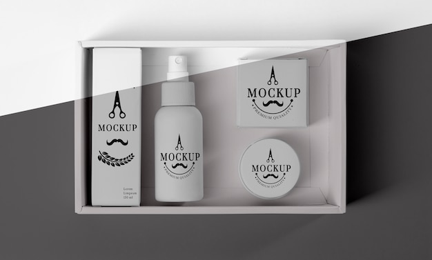Top view of barbershop products box