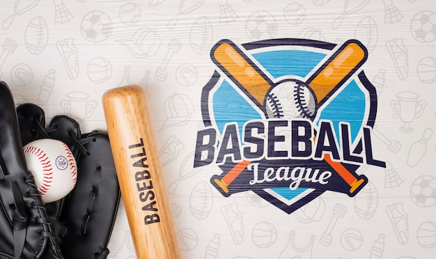 Top view baseball bat and glove with ball