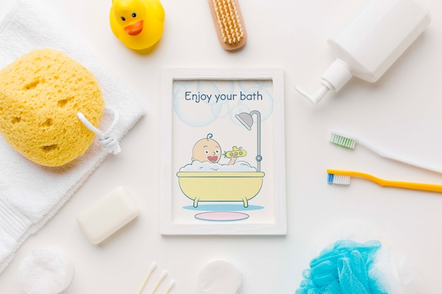 Top view bath accessories with picture frame
