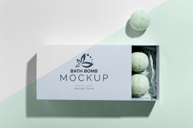 Top view bath bombs in box mock-up