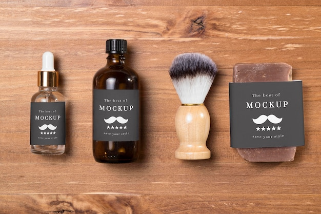 Top view of beard care products with brush