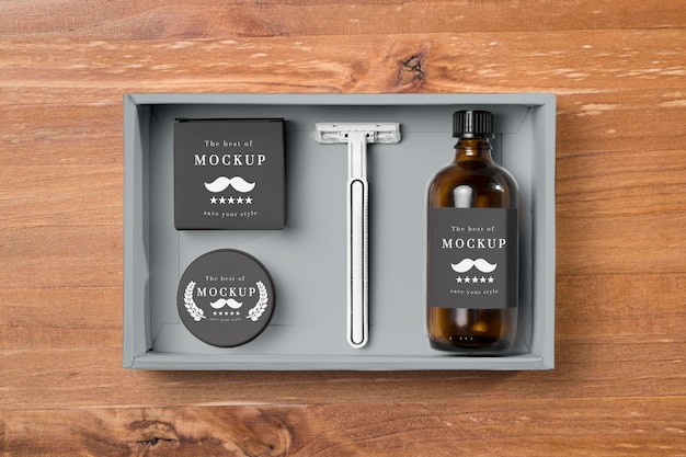 Top view of beard care products with razor