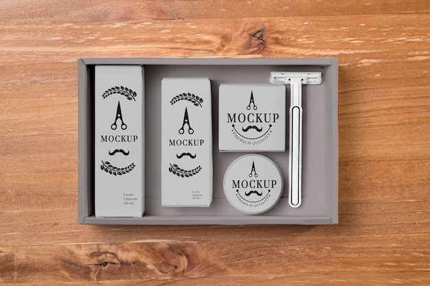 Top view of beard care set with razor