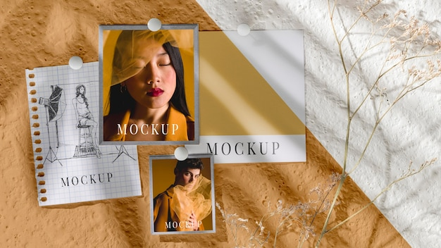 Top view of beautiful autumn moodboard mock-up