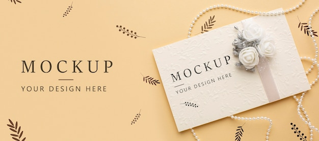 Top view of beautiful wedding concept mock-up