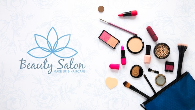 Top view beauty salon concept