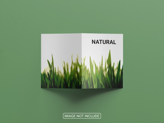 Top view on bifold brochure mockup isolated