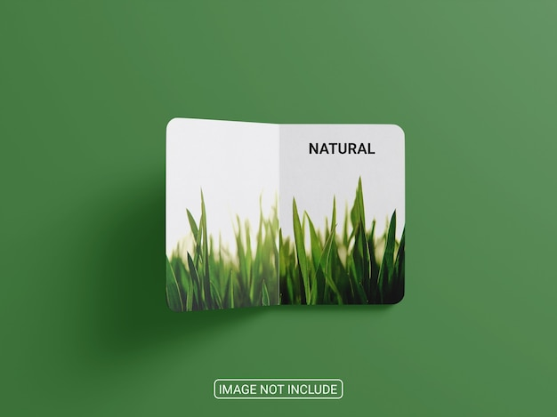 Top view bifold brochure mockup isolated