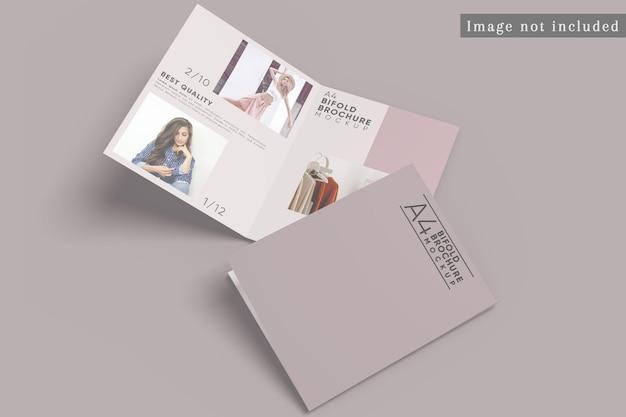 Top view of bifold brochure mockup