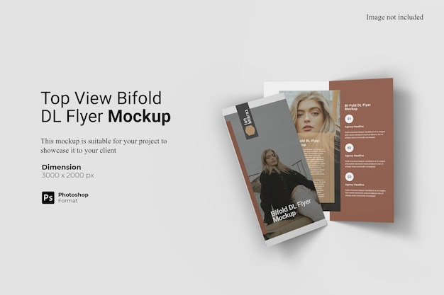 Top view bifold dl flyer mockup design isolated