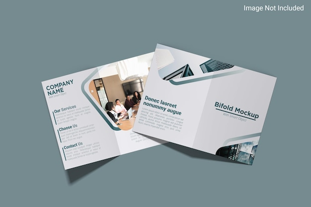 Top view bifold flyer mockup design in 3d rendering