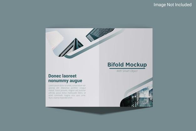 3dレンダリングでの上面図の2つ折りチラシモックアップデザイン