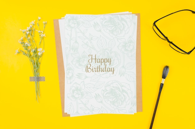 Top view birthday card mock-up