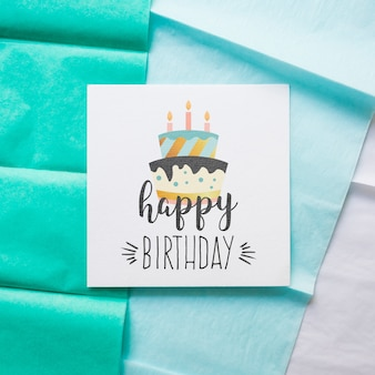 Top view birthday card mockup