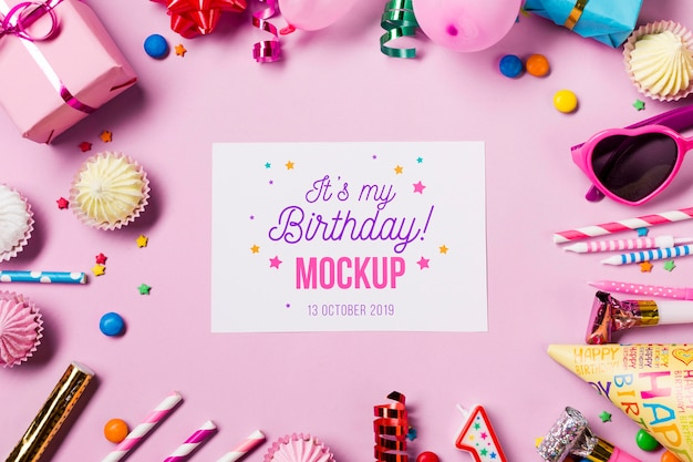 Top view birthday concept mock-up