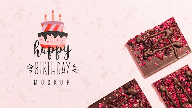 Top view birthday concept with mock-up