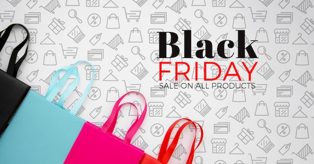Top view of black friday concept on plain background