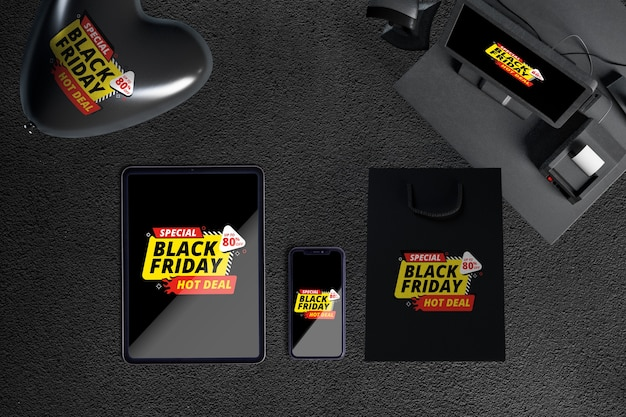 Top view of black friday scene creator
