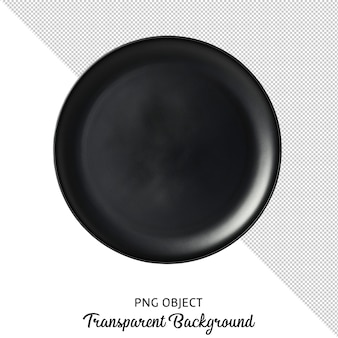 Top view of black round plate isolated