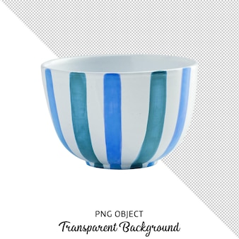 Top view of blue patterned bowl isolated