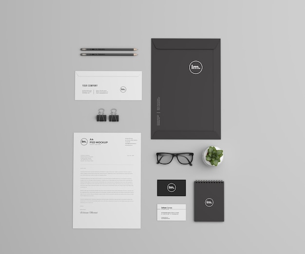 Top view branding and stationery mockup design isolated