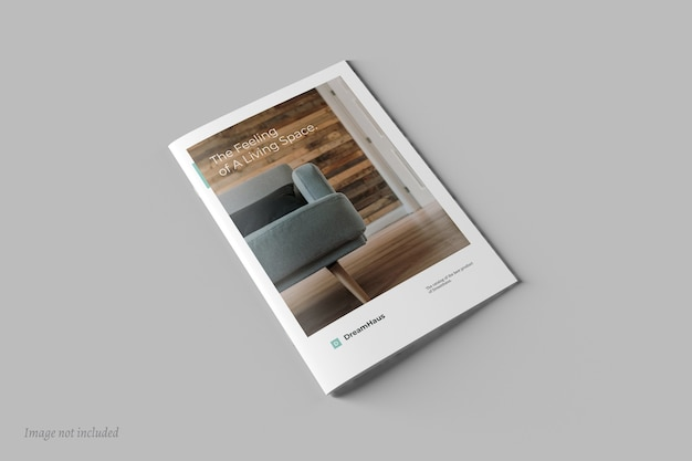 Top view of brochure or catalog cover mockup