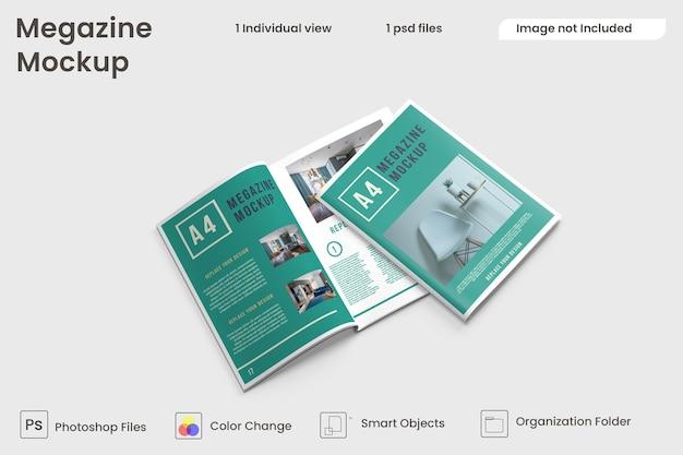 Top view of brochure and catalog mockups premium psd