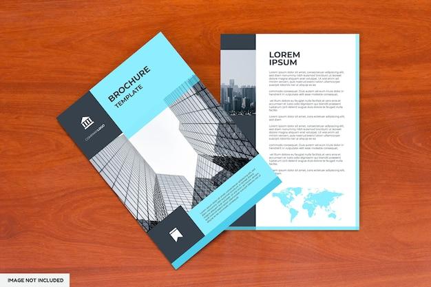 Top view on brochure mockup paper flyers
