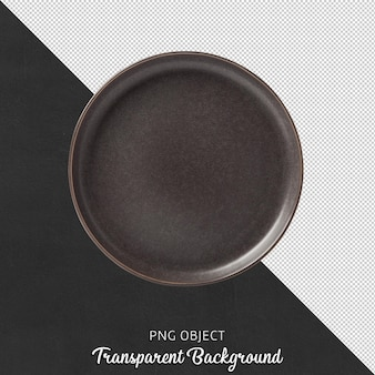 Top view of brown round plate