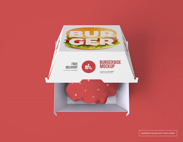 Top view of burger box packaging mockup Premium Psd