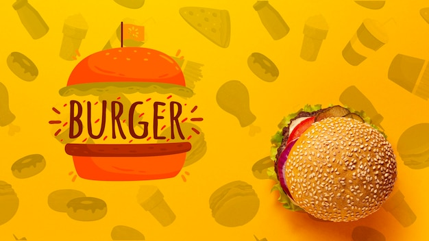 Top view burger on fast food doodle background