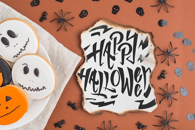 Top view burned paper mockup with halloween concept